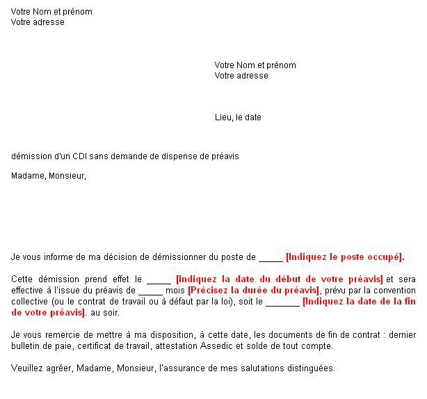 lettre de demission boulangerie lettre de préavis   Boulangerie net lettre de demission boulangerie